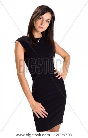 young business lady in black dress isolated