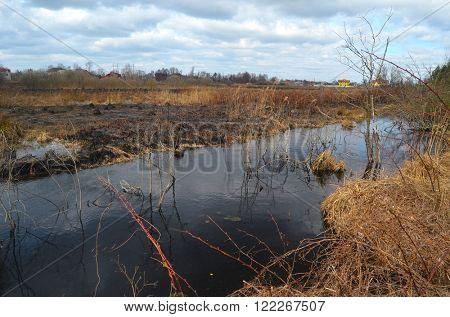 KIEV REGION, UKRAINE - MAR 16, 2016: Abandoned drainage canal.March 16, 2016 Kiev Region, Ukraine