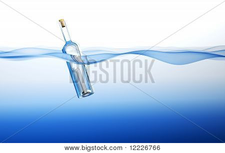 Bottle In The Ocean. 3D Rendering