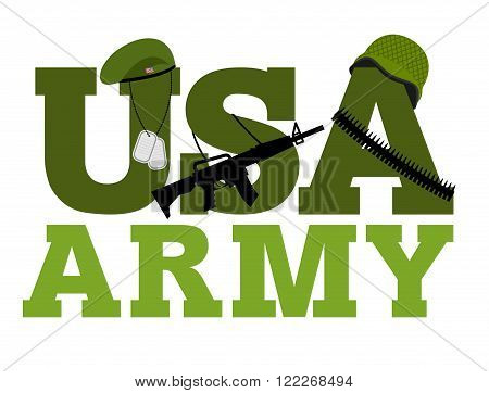 United States Army. Military Text Logo. American Army. Green Beret And Protective Soldiers Helmet. M