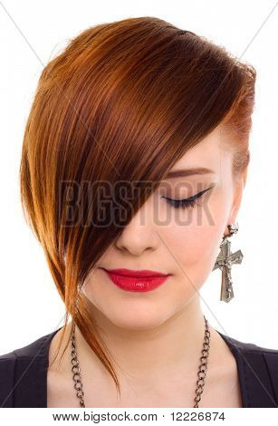 portrait of style beautiful red hair woman close up