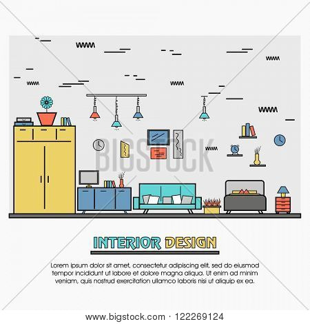 One page web design template, line art flat icons based on property decoration,  commercial, residential, real estate, apartment dwelling. Hero image, website layout and website slider.