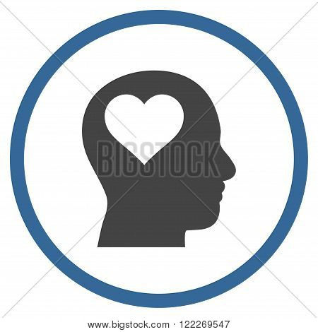 Lover Head vector bicolor icon. Picture style is flat lover head rounded icon drawn with cobalt and gray colors on a white background.