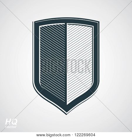 Vector grayscale defense shield protection design graphic element. Illustration on security theme, retro coat of arms.