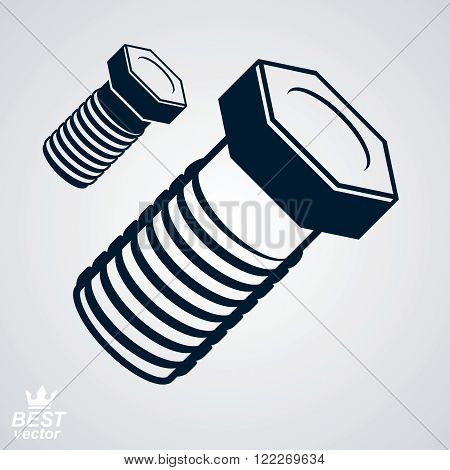 3D Vector Elegant Bolt, Additional Version Included. True Stylized Built Instrument – Fix Tool, Styl