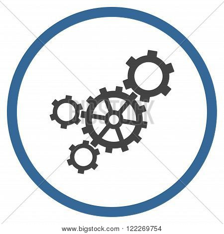 Mechanism vector bicolor icon. Picture style is flat mechanism rounded icon drawn with cobalt and gray colors on a white background.