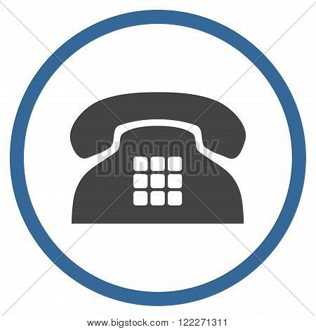 Tone Telephone vector bicolor icon. Picture style is flat tone phone rounded icon drawn with cobalt and gray colors on a white background.
