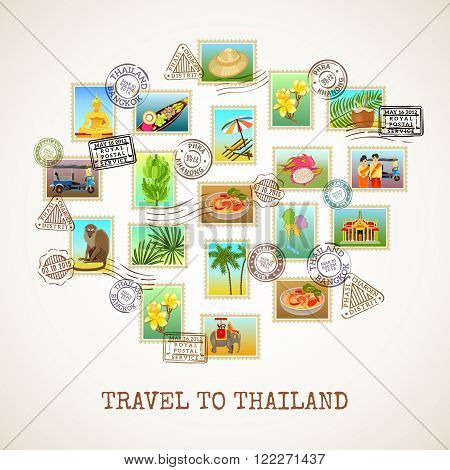 Thailand poster with images of postal stamps with sights flora and fauna of the country vector illustration
