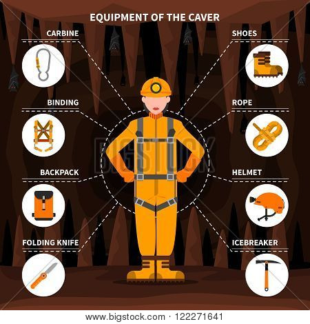 Speleologists caving equipment for underground exploring surveying and protection pictorial infographic elements flat banner abstract vector illustration