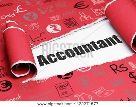 Money concept: black text Accountant under the piece of  torn paper