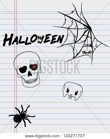 Halloween drawings on a sheet of paper-spider skull and cobweb