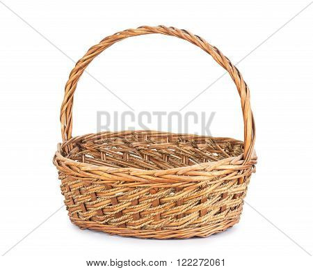 old Brown wicker basket on white background