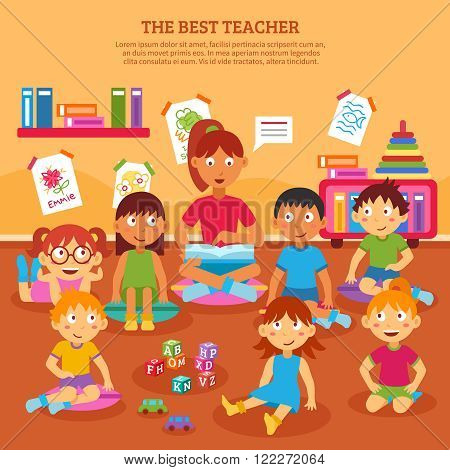 Young kindergarten teacher reading to class of kids in the classroom vector illustration