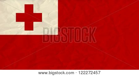 Vector image of the  Tonga  paper  flag