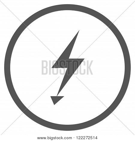 Electrical Strike vector icon. Picture style is flat electric strike rounded icon drawn with gray color on a white background.