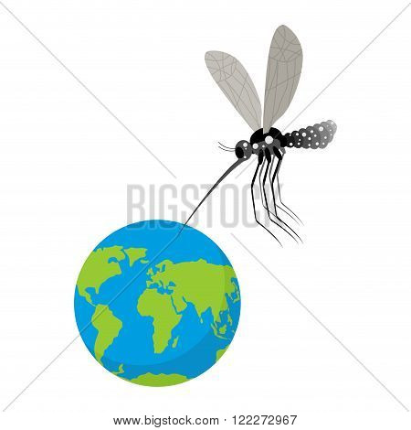 Mosquito And Earth. Zika Virus Mosquito Attacked Planet. Humanity Is In Danger. Epidemic Is Threat T