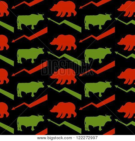 Bulls And Bears Traders Seamless Pattern. Green Red Bull And Bear. Rise And Fall Of Course. Green Ar