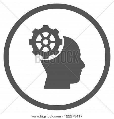 Head Gear vector icon. Picture style is flat head gear rounded icon drawn with gray color on a white background.
