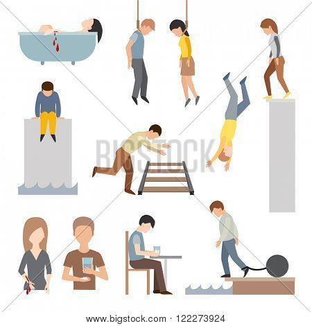 Suicide people cartoon symbols and suicide flat character alone people vector. Suicidal commit suicide people methods stick cartoon figure flat vector icons.