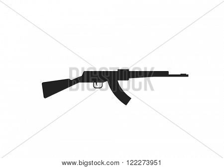 Automatic machine gun AK 47 isolated on white, black silhouette of gun AK-47 automatic machine. Gun weapon automatic machine black silhouette vector
