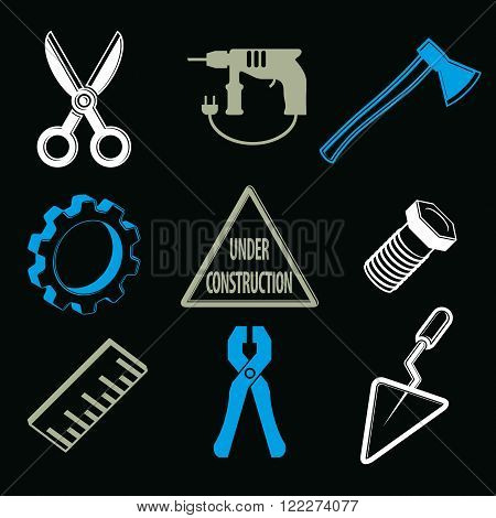 Work Tools Collection, Vector Repair Instruments For Carpentry And Manufacturing. Set Of High Qualit