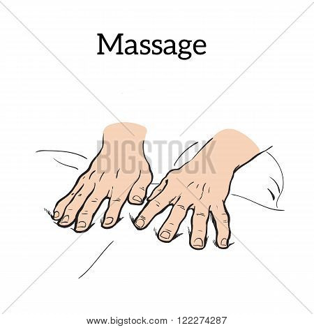 Hand massage, back massage, body massage. Hand massage. Massage therapy. Therapeutic manual massage. Relaxing therapy. Massage vector icons. Relaxation