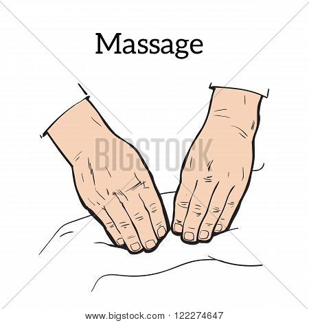 Hand massage, back massage, body massage. Hand massage. Massage therapy. Therapeutic manual massage. Relaxing therapy. Massage vector icons.