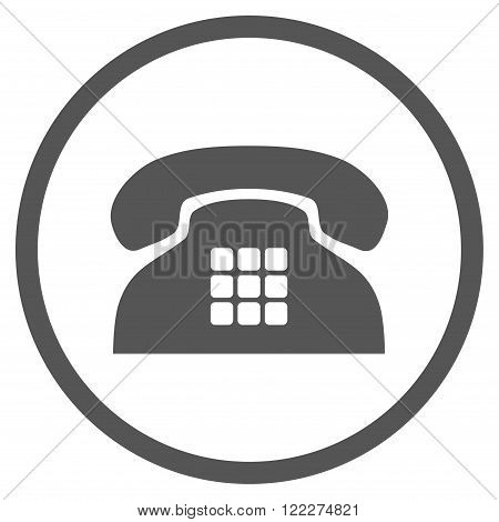 Tone Phone vector icon. Picture style is flat tone phone rounded icon drawn with gray color on a white background.