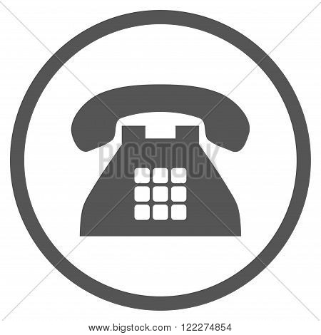 Tone Telephone vector icon. Picture style is flat tone phone rounded icon drawn with gray color on a white background.