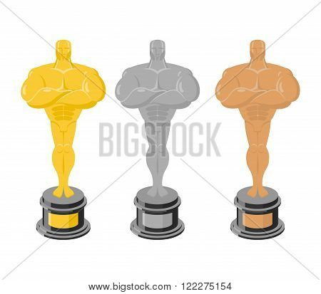 Golden Statuette Isolated. Silver Figurine On A White Background. Bronze Statuette. Gold, Silver And