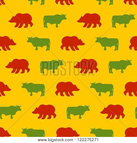 Bulls And Bears Seamless Pattern. Green Red Bull And Bear. Allegory Of  Background For Exchange. Tra