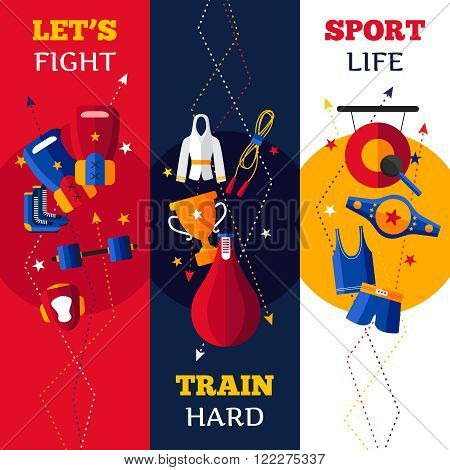 Three flat vertical banners set of  abstract shadowed isolated boxing attributes vector illustration