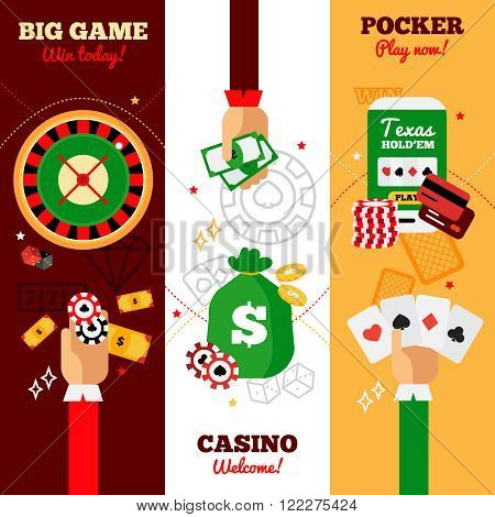 Casino vertical banners design concept advertising big game casino welcome and pocker falt vector illustration