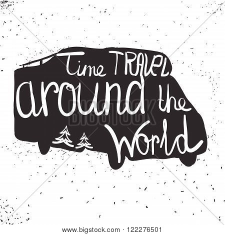 lettering travel, typographic, camp calligraphy, silhouette trai