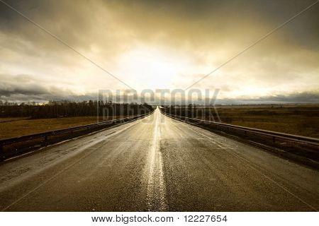 along a highway