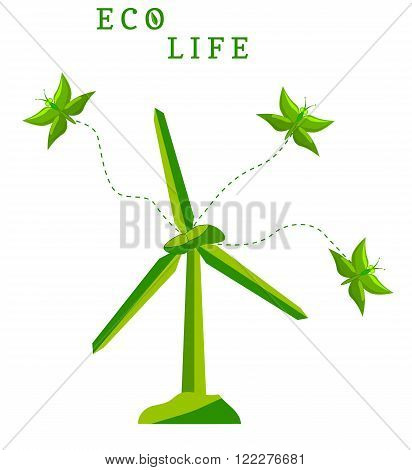 Ecological concept with windmill and green butterflies. Green butterflies fly out of the windmill. Design for  eco card with  green windmill, butterflies and the words Eco Life. vector