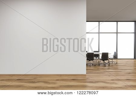 Empty office white wall in front of panoramic window table for meetings wooden wall. Concept of new office. 3D rendering