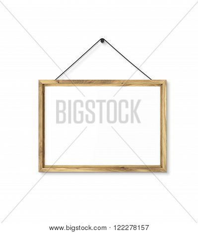 Blank wooden frame on nail. Isolated. Concept of picture on wall. Mock up. 3D render