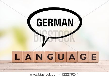 German Language Lesson Sign On A Table