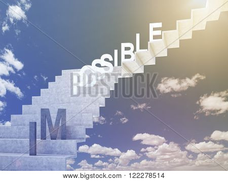 Ladder to sky 'possible' on steps 'im' down. Blue sky at background. Concept of possibility. 3D rendering