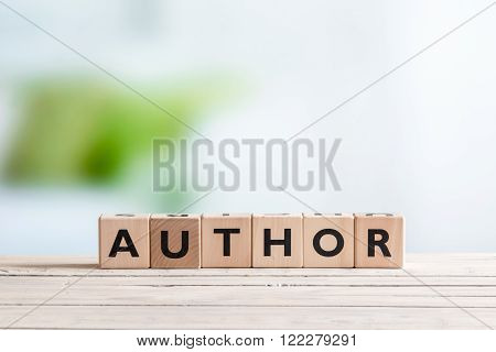 Author Sign On A Wooden Desk