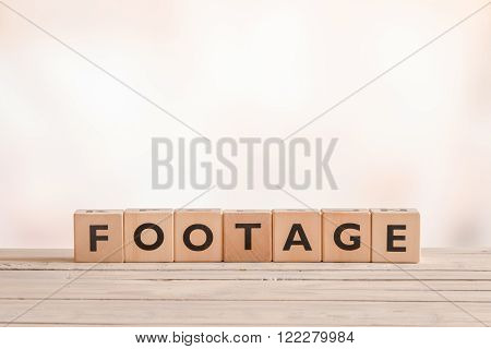 Footage Sign Made Of Wooden Cubes