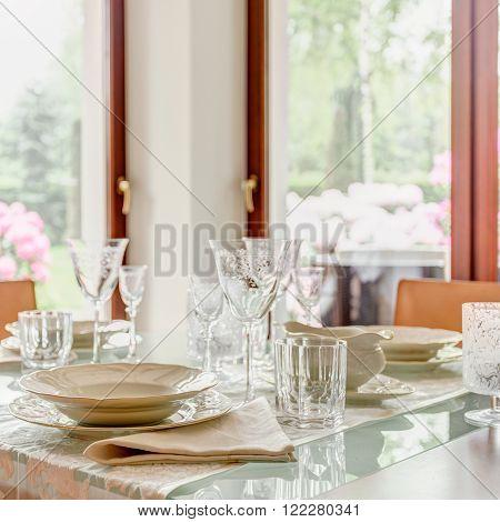 Crystal Stemware And Porcelain Tableware