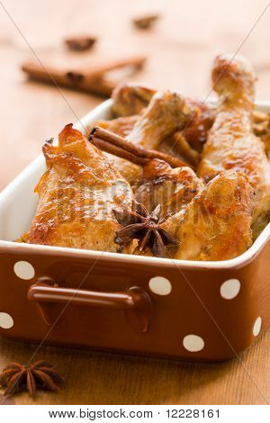 roasted chicken with soy sauce,orange juice,ginger,cinnamon,garlic and anise pods