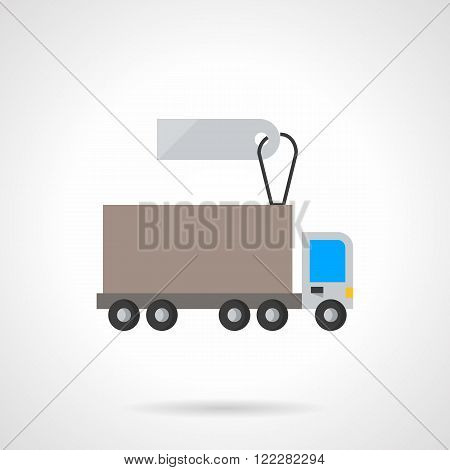 Lorry vehicle with label flat vector icon