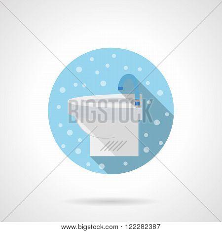 White sink round blue flat vector icon