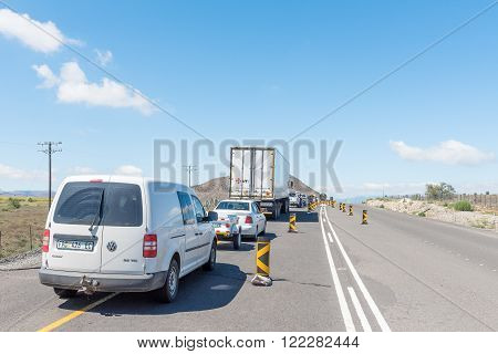 CRADOCK SOUTH AFRICA - FEBRUARY 19 2016: Stop and go delay at road works on the N10 road between Cradock and Cookhouse in the Eastern Cape Province
