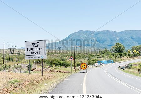 SOMERSET EAST SOUTH AFRICA - FEBRUARY 19 2016: Entrance to Somerset East a small town on the Blue Crane Route in the Eastern Cape Province