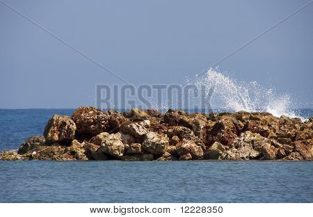 Water Splashing Over Sea Wall
