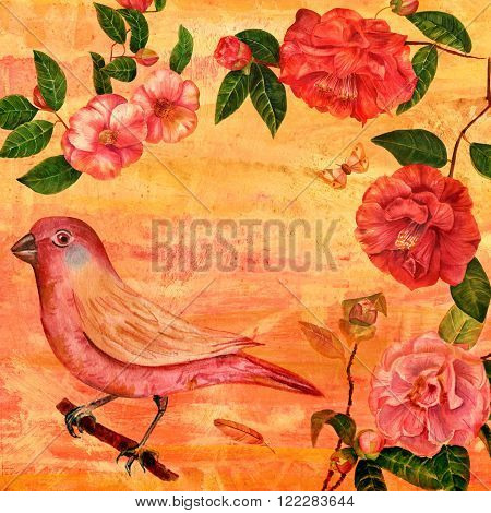 Vintage collage with watercolor drawings of a bird red and pink camellias a butterfly and a feather on a textured background with copy space